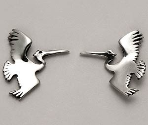 Heron Earrings Sterling Silver