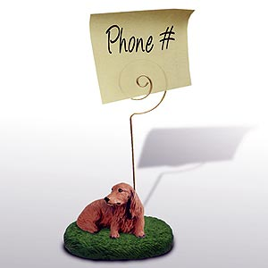 Dachshund Note Holder (Red Longhaired)