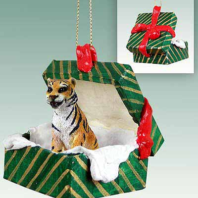 Tiger Gift Box Christmas Ornament