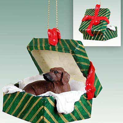 Dachshund Gift Box Christmas Ornament Red