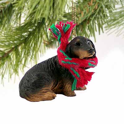 Longhaired Dachshund Tiny One Christmas Ornament Black