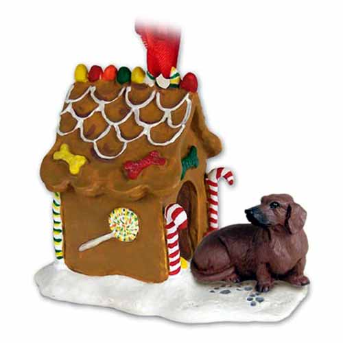 Dachshund Gingerbread House Christmas Ornament Red