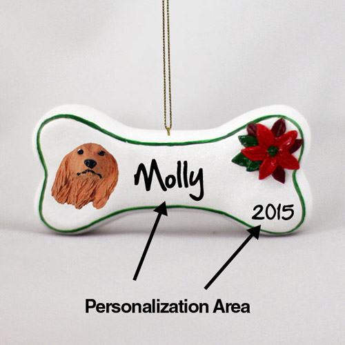 Dachshund Personalized Dog Bone Christmas Ornament Longhair
