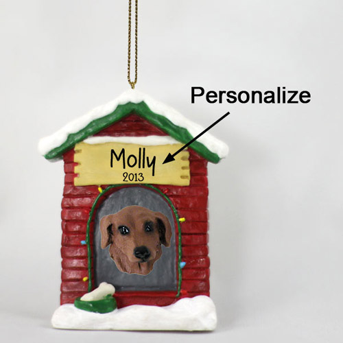 Dachshund Personalized Dog House Christmas Ornament Red
