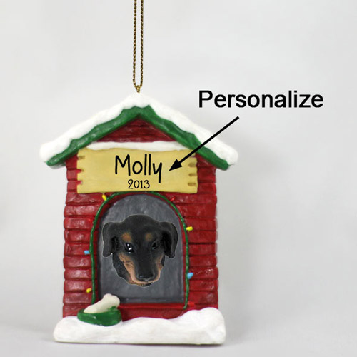 Dachshund Personalized Dog House Christmas Ornament Black