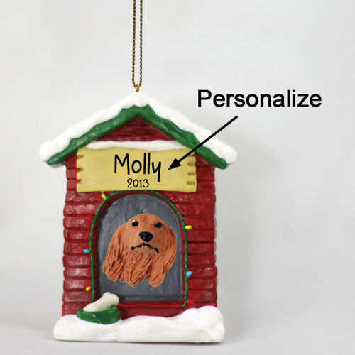 Dachshund Personalized Dog House Christmas Ornament Longhair