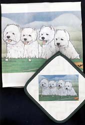 West Highland Terrier Dish Towel & Potholder
