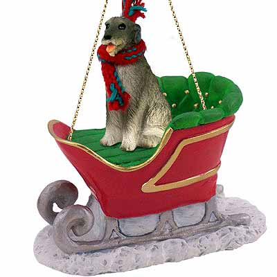 Irish Wolfhound Sleigh Ride Christmas Ornament