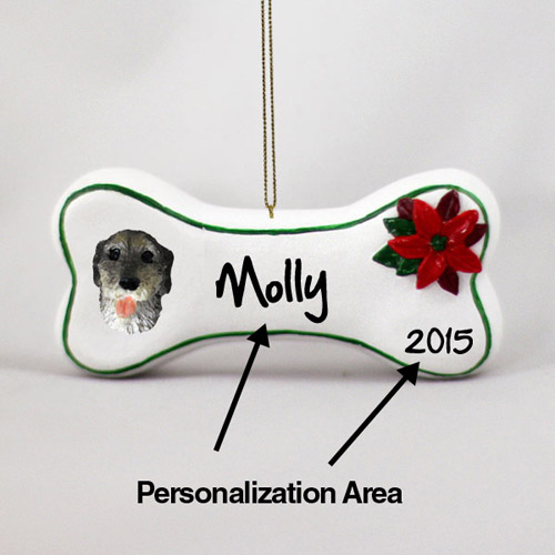 Irish Wolfhound Personalized Dog Bone Christmas Ornament