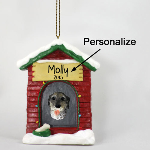 Irish Wolfhound Personalized Dog House Christmas Ornament