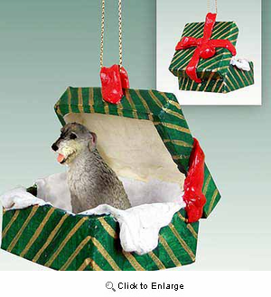 Irish Wolfhound Gift Box Christmas Ornament