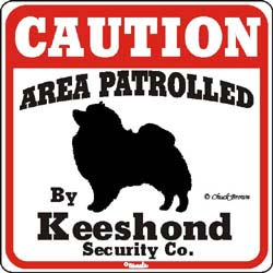 Keeshond Caution Sign