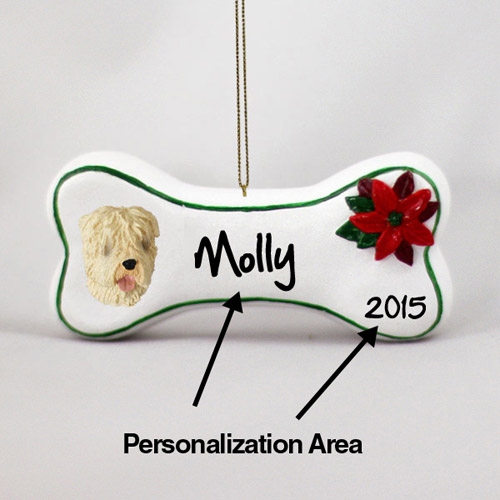 Wheaten Terrier Personalized Dog Bone Christmas Ornament