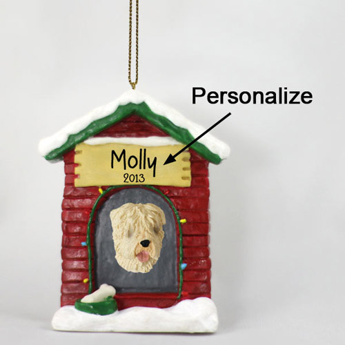 Wheaten Terrier Personalized Dog House Christmas Ornament