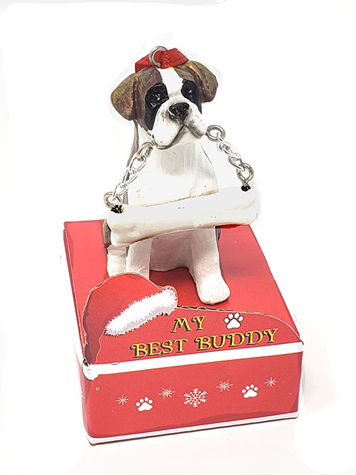 My Best Buddy Boxer Christmas Ornament