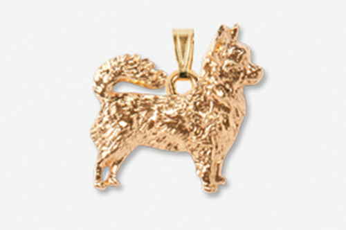Longhaired Chihuahua 24K Gold Plated Pendant