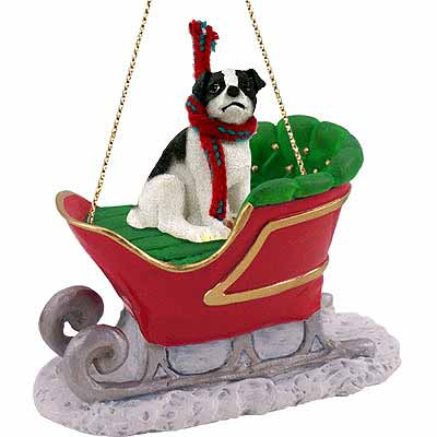 Jack Russell Terrier Sleigh Ride Christmas Ornament Black-White Smooth Coat