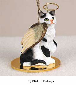 Black & White Cat Christmas Ornament Angel