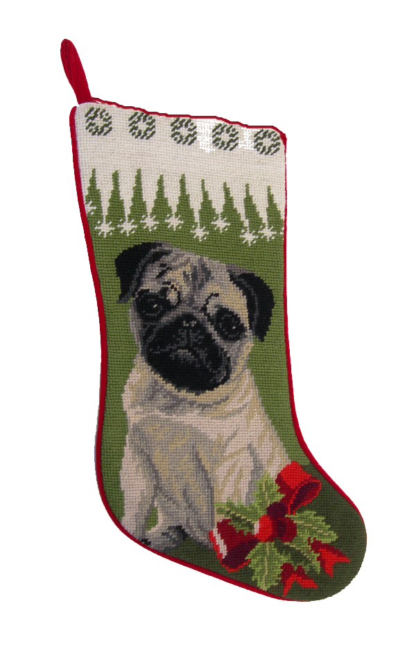 Pug Christmas Stocking Fawn