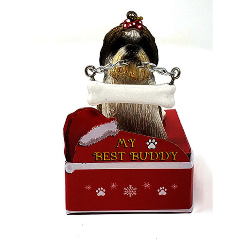 My Best Buddy Tan Shih Tzu Christmas Ornament