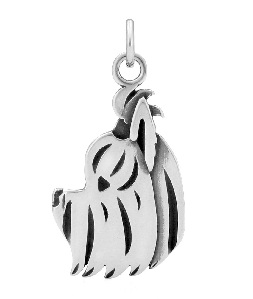 Sterling Silver Yorkshire Terrier Puppy Cut Head Necklace