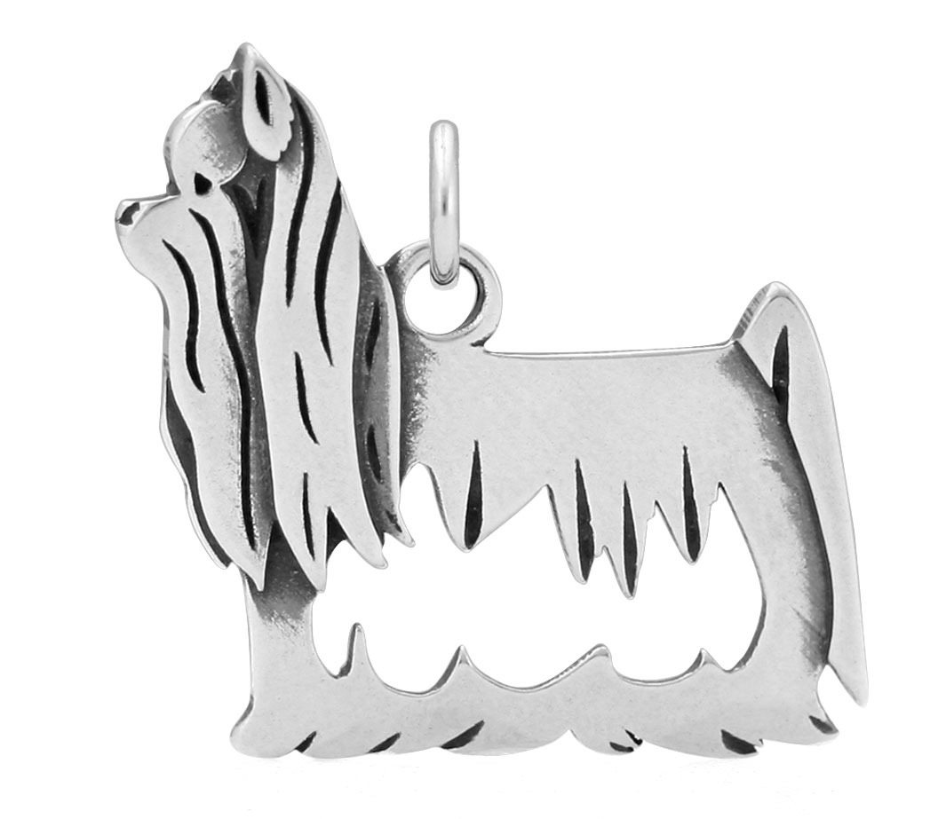 Sterling Silver Yorkshire Terrier Show Cut Body Necklace