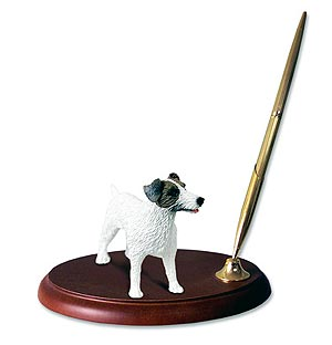 Jack Russell Terrier Pen Holder Brown White Rough