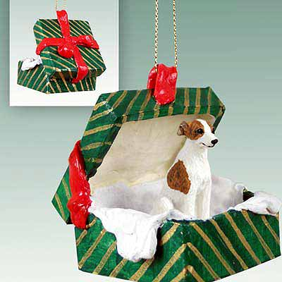 Whippet Gift Box Christmas Ornament Brindle-White