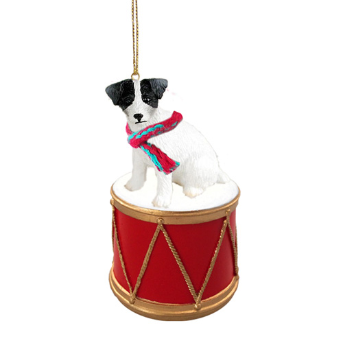 Little Drummer Jack Russell Black & White Christmas Ornament