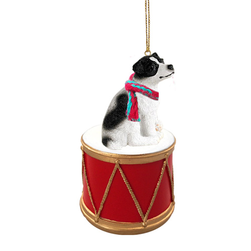 Little Drummer Jack Russell Terrier Black-White Smooth Christmas Ornament