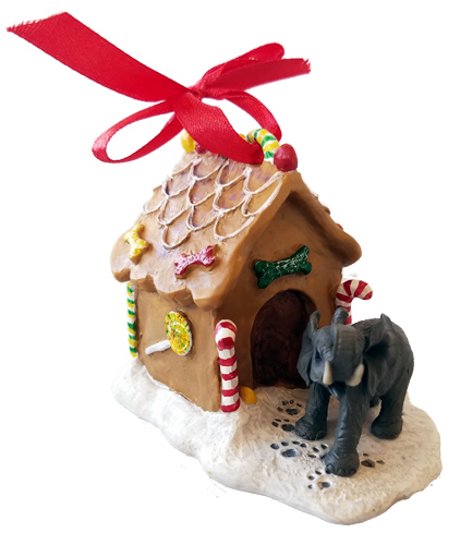 Elephant Gingerbread House Christmas Ornament