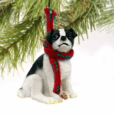 Jack Russell Terrier Tiny One Christmas Ornament Black-White Smooth Coat