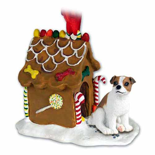 Jack Russell Terrier Gingerbread House Christmas Ornament Brown-White Smooth Coat