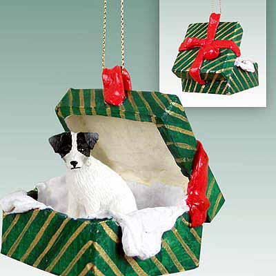 Jack Russell Terrier Gift Box Christmas Ornament Black-White