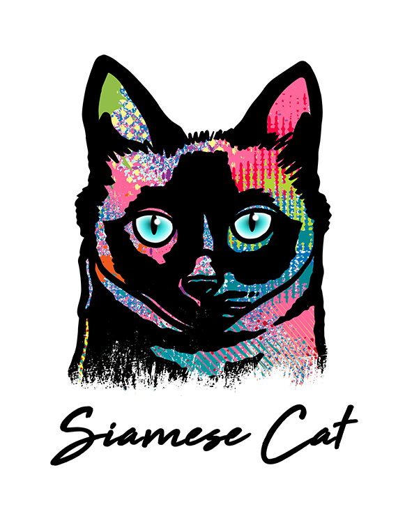 Siamese Cat T Shirt Colorful Abstract