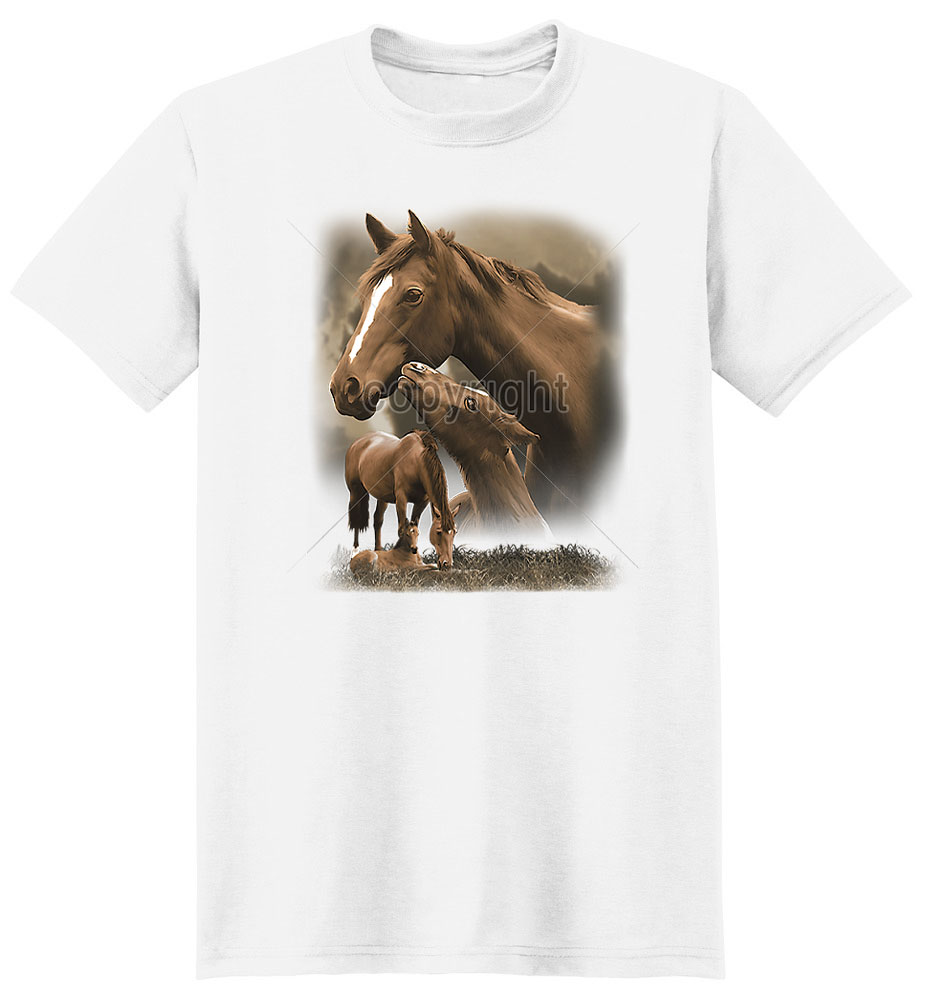 Brown Horse T Shirt Mother And Foal
