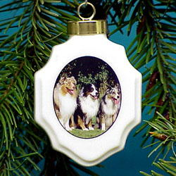 Australian Shepherd Christmas Ornament Porcelain