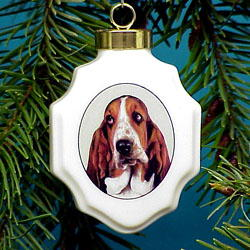 Basset Hound Christmas Ornament Porcelain