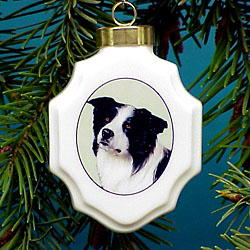Border Collie Christmas Ornament Porcelain
