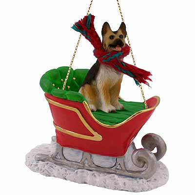 German Shepherd Sleigh Ride Christmas Ornament Tan-Black