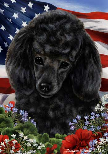 Poodle House Flag Black