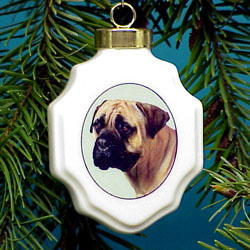 Bullmastiff Christmas Ornament Porcelain
