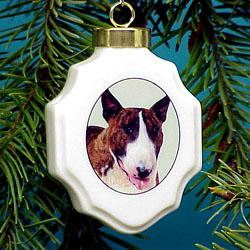 Bull Terrier Christmas Ornament Porcelain