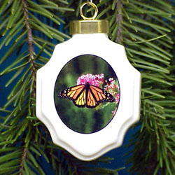 Butterfly Monarch Christmas Ornament Porcelain