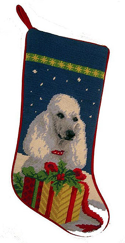 White Poodle Christmas Stocking
