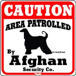 Afghan Hound Caution Sign
