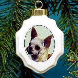 Chihuahua Christmas Ornament Porcelain
