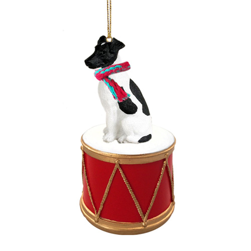 Little Drummer Smooth Fox Terrier Black & White Christmas Ornament