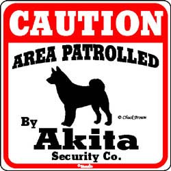 Akita Caution Sign