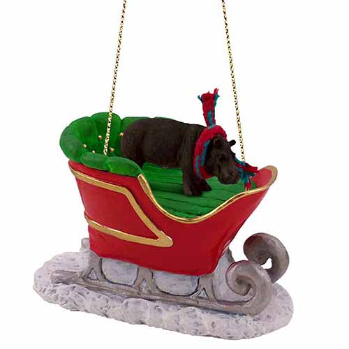 Hippopotamus Sleigh Ride Christmas Ornament